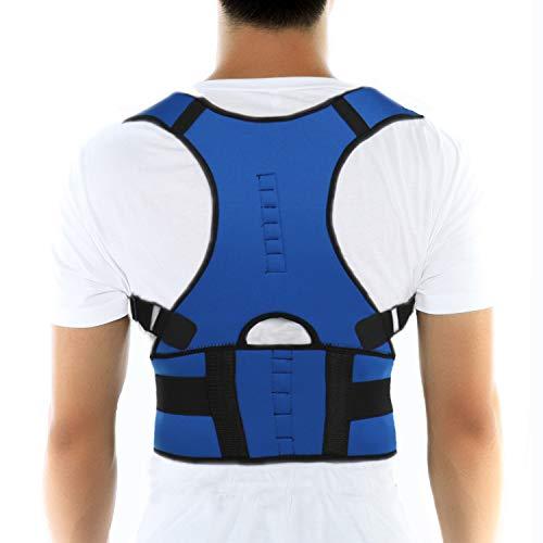 FITTOO Unisex Neopren Magnete Verstellbare Atmungsaktive Schulter Rückenbandage für Haltungskorrektur Blau XL