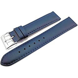 Blue Padded Leather Watch Strap Band With A Stitched Edging And Nubuck Lining 16mm