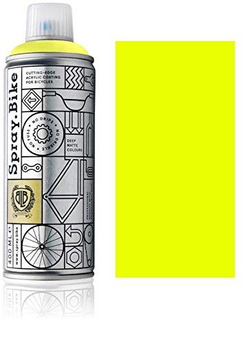 Fahrrad Lackspray in NEON Farben - KEINE GRUNDIERUNG notwendig - Acryllack / Lack Spray in 400 ml Spraydose, Matt- und Klarlack Optik möglich (Matt, Neon Gelb)