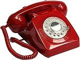 GPO Retro 746 - Teléfono (Teléfono analógico, Terminal con conexión por Cable, Rojo)
