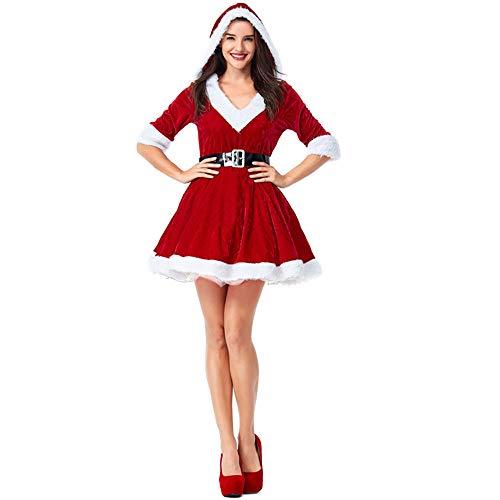 Frauen 2 Stück Frau Claus Kostüm Santa Outfit Xmas sexy Kleid für Weihnachten ()