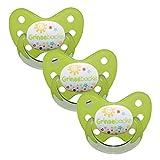 Dentistar® Schnuller 3er Set - Nuckel Silikon in Größe 1 von Geburt an, 0-6 Monate - zahnfreundlich & kiefergerecht - Beruhigungssauger für Babys - Grün Grinsebacke