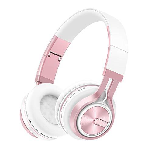 Drahtloses Bass Stereo Lautstärkeregler Kopfhörer, Teleskoparm Bluetooth-verbindung Faltbarer Sport-headsets-rosa Rosa Bluetooth Headset
