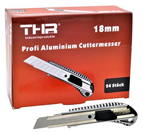 24 Stück THR Profi Alu Cuttermesser Teppichmesser Cutter für 18mm Abbrechklingen