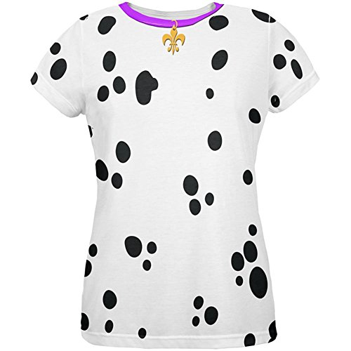 Mardi Gras Hund Dalmatiner Kostüm lila Halsband Fleur De Lis aller Damen T Shirt Multi (Gras Kostüme Mardi Hund Für)