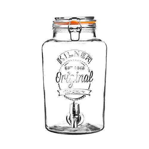 KILNER - dispensador de Bebidas de Cristal Redondo, de 5litros, Parte Superior de Clip, en Caja de Regalo, 22,5x 19x 31,5cm