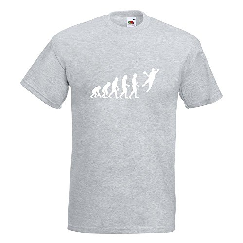 KIWISTAR - Evolution Handballer T-Shirt in 15 verschiedenen Farben - Herren Funshirt bedruckt Design Sprüche Spruch Motive Oberteil Baumwolle Print Größe S M L XL XXL Graumeliert