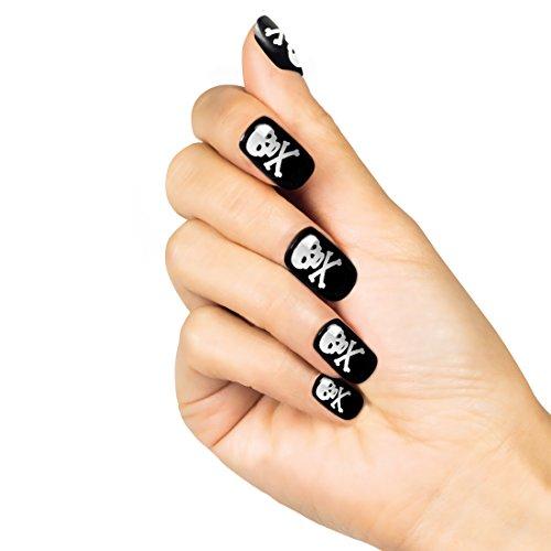 NET TOYS Halloween Fingernägel Totenkopf Nägel 24 Stück Kunstnägel Piratenbraut Kunstfingernägel Piratin (Für Halloween Nägel Nette)