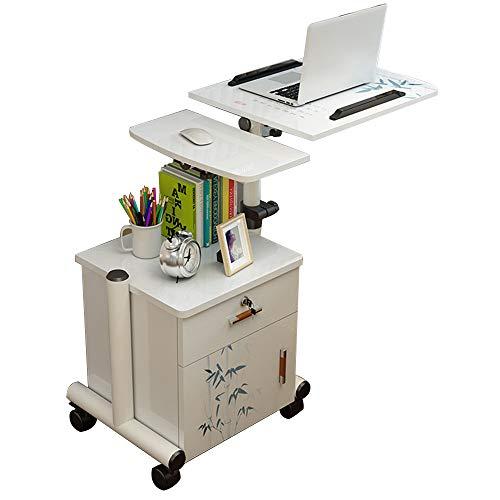 Laptopständer DD Laptop-Tisch, Beweglicher Nachttisch, Abnehmbarer Nachttisch 63-95 cm, Lagerschränke, Pflegetisch -Werkbank (Farbe : Weiß+Orchidee) -