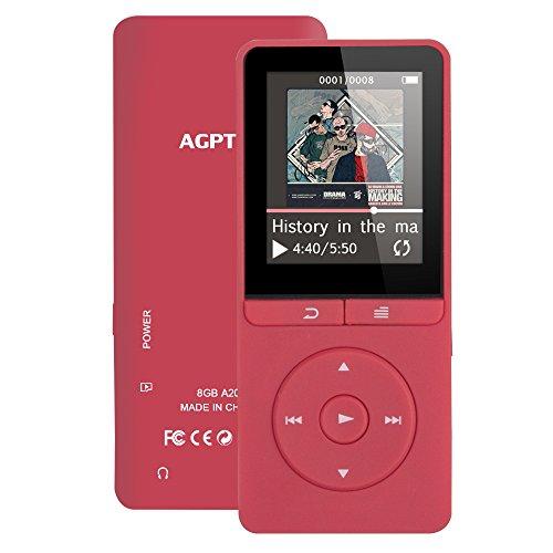 Fernbedienung am Kopfhörer 8GB MP3 Player 1,8 Zoll Display Musik Player 70 Stunden Wiedergabe, von AGPTEK A20, Rot