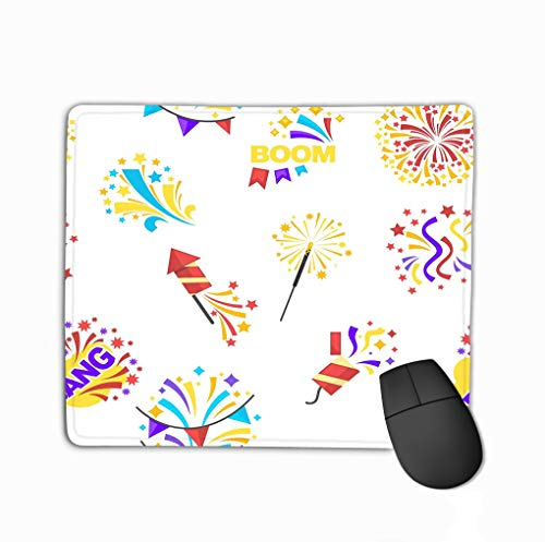 Customized Rectangle Mousepad,Cute Gaming Mouse Pad Mat 11.81 X 9.84 Inch bang Party Celebration Holiday Isolated White Boom petards tti Decoration Surprise Glowing Bright