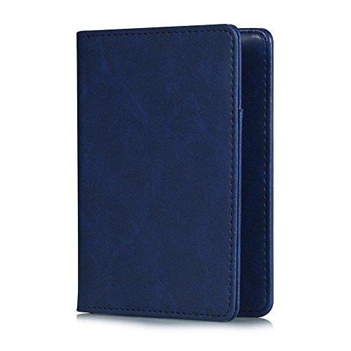 Pasaporte Cartera,KATUMO Funda Pasaporte Cover Case con RFID Protección, Cartera Billetes de Avión,Cartera de Viaje-#1Azul 1