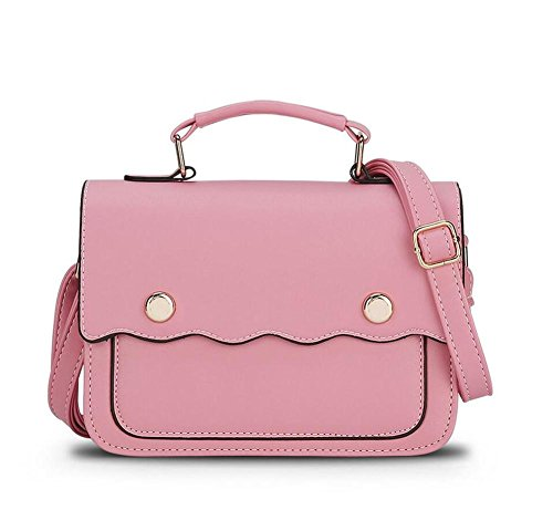 HQYSS Borse donna Pelle Donna PU leggero spalla impermeabile Messenger borsa OL regolabile Pendolari solido Colore Crossbody Bag Tote Bag , days blue pink