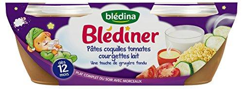 Blédina Blédiner Pâtes Coquilles Tomates Courgettes Lait dès 12 Mois 2 x 200 g - Lot de 4