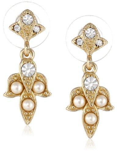 Downton Abbey Damen-Ohrringe Kristall Klar Synthetische Perle Weiß 2.6924 cm - (Kostüme Aus Downton Abbey)