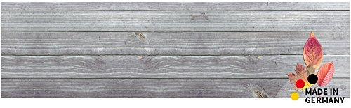 matches21 Küchenläufer Teppichläufer Teppich Läufer Herbst Bunte Blätter auf Holzbrett 50x180x0,4 cm maschinenwaschbar
