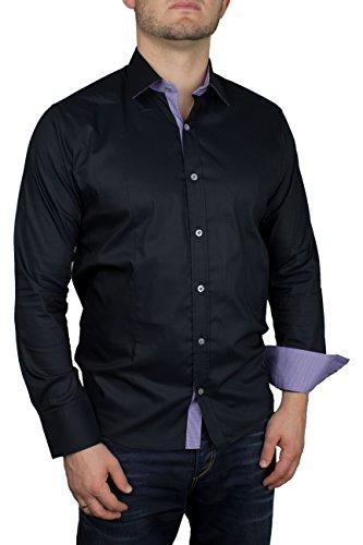 Herren Langarm Hemd Business Anzug Freizeit Hochzeit Basic Standard Slim Fit 2 - Schwarz XL (Anzug Button-down-hemd,)