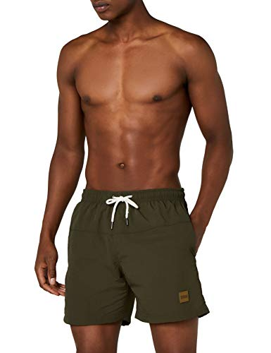 Urban Classics Block Swim Shorts Costume da Bagno Uomo Verde Medium