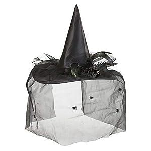 WIDMANN wdm9430K?Disfraz para adultos sombreros bruja con tul, Flor y plumas, negro, talla única