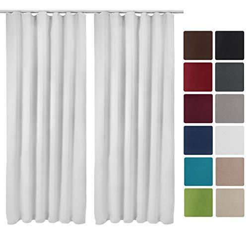 Beautissu 2er Set Gardine Blackout-Vorhang Amelie Kräuselband 140x245 cm blickdichte Verdunklungsgardine Universalband Weiß