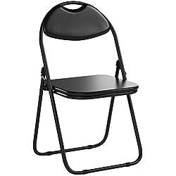 Chaise pliante rembourrée - pour le bureau - entièrement noire - lot de 6