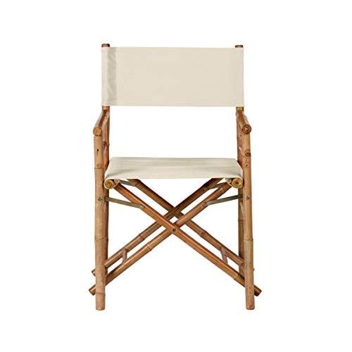 Butler-möbel (BUTLERS Bollywood Regiestuhl, 93x75x156 cm - Cremefarbener Stuhl aus Bambus und Baumwolle - Klappbarer Campingstuhl)