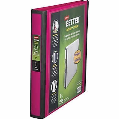 Staples Better View 1-Inch D 3-Ring Binder, Pink (13568-CC) by Staples (1 Staples 3-ring Binder)
