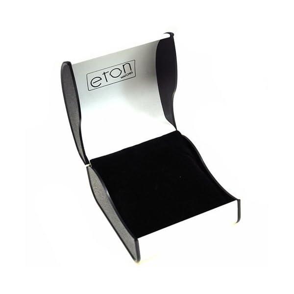 Eton Gents Black Dial Silvertone Chrome Nickel Free Bracelet Strap Watch