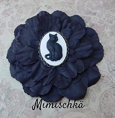 pince à cheveux fleur noire camée chat noir hair clip black flower cameo black cat