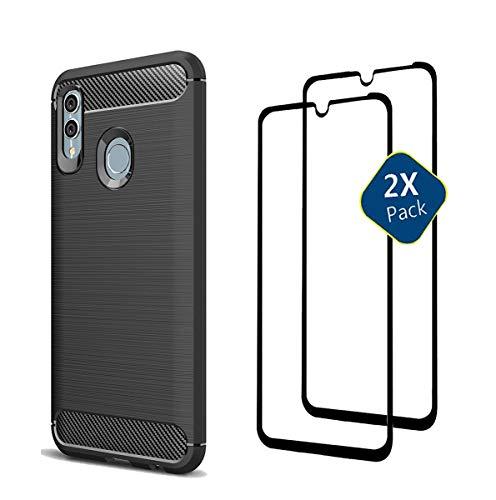 XIFAN Huawei P Smart 2019 Hülle + [2 Pack] Displayschutzfolie, Slim Soft Shockproof Case und Ultra HD 9H gehärtetes Glas für Huawei P Smart (2019), Schwarz