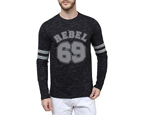 SAYITLOUD Men's Solid Round Neck T-Shirt (40REBEL69SLUBBLACKGREY-L_Black, Grey_Large) (X-Large)