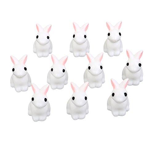 10pz Miniatura Conigli Bianco Deocro Micro Paesaggio Bonsai Vaso Casa Bambole