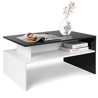 Homfa Table Basse de Salon Design Table de Salon en Bois Moderne avec Rangement 90*54*42CM (Noir et Blanche)