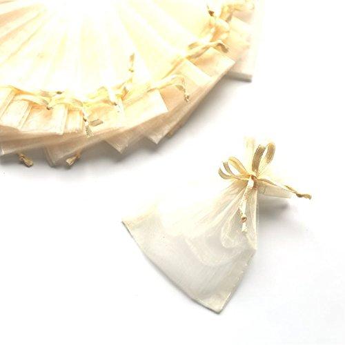 100 Sacchetti Organza 7*9cm Confetti Bomboniera Regalo (AVORIO)
