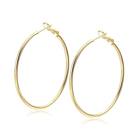 Womens Earring,Clode® 1Pair 55mm Ladies Girls Trendy Big Round Stud Plain Earrings Loop for
