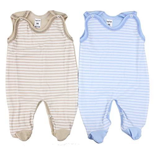 TupTam Unisex Baby Strampler Baumwolle Gemustert 2er Set, Farbe: Farbenmix 3, Größe: 56