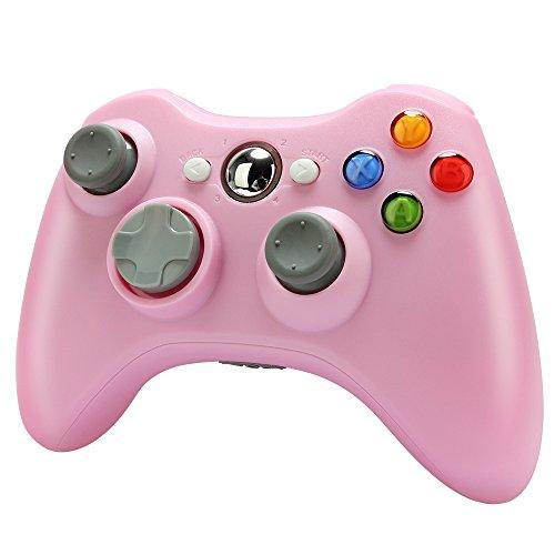Mando inalámbrico para Xbox 360, Uniway XC02 XBOX Controlador inalámbrico 2.4 GHZ PC Gamepad para Windows / XP Sistema-rosa
