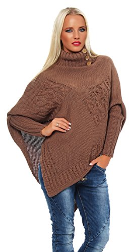 Farben Kakao (Mississhop Poncho Strick Sweatshirt Pullover Umhang Überwurf Einheitsgröße 36 38 40 S M L 11 Farben, 1-kakao, S/M/L 36/38/40)