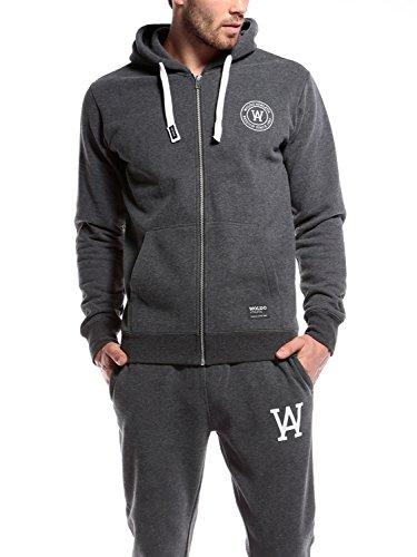 WOLDO Athletic Herren Sweatjacke Zip Hoodie Kapuzenjacke Kapuzenpulli mit Reißverschluss Jacke Fitness Sport Gym Slim Fit Gillies / dunkelgrau
