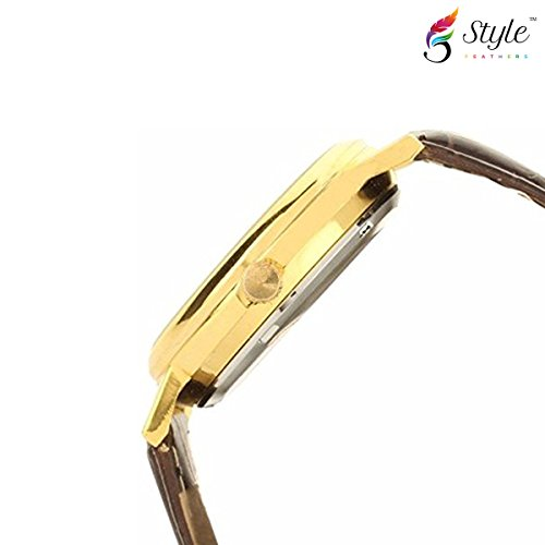 Style Feathers Transparent Analog Gold Dial Men's Watch - 103