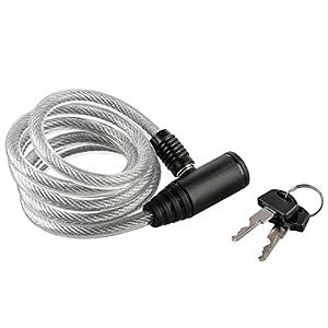 Ultrasport 2 Llaves Candado de Cable en Espiral para Bicicletas, con 150 cm de Longitud, Recomendado para Proteger los Accesorios como el Casco, el sillín y Otros Objetos, Unisex Adulto, Negro, OS