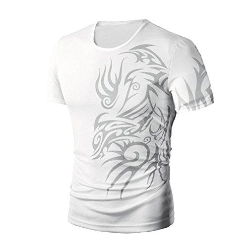 Rcool Herren-Sommer-bedrucktes Baumwoll-Kurzarm-T-Shirt (XL, Weiß)