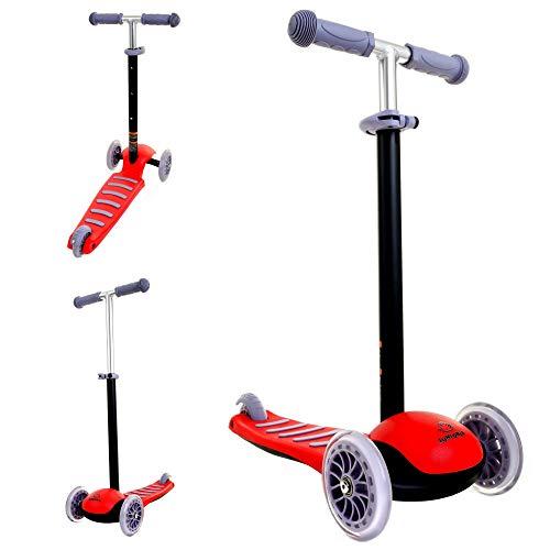 JUNIORIA Roller Kinderroller Tretroller Kickscooter Dreirad Cityroller Tretroller (Rot)