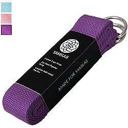 """Correa para yoga """"Yamkas """" Yoga belt cinturón 100% de algodón con esquinas de metal Anillo cierre en diferentes coloures yoga strap"""