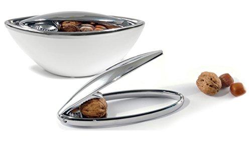 Nussknackerset: Nussknacker aus Metall mit Keramik Schale weiß, Nussknacker, Nussöffner, Nusszange, Knacker für Nüsse, Nussbrecher, Nussknacker aus Metall