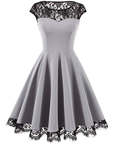 HomRain Damen 1950er Elegant Spitzenkleid Rundhals Knielang festlich Cocktail Abendkleid Grey 2XL