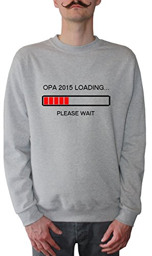 Mister Merchandise Men Sweater Sweatshirt Sweater Opa 2015 Loading...Please Wait Opi Großvater Grandad Felpa da Uomo, Taglia: XXL, Color: Grigio