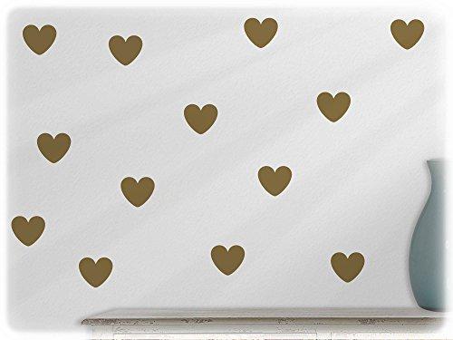 Preisvergleich Produktbild wandfabrik - Wandtattoo - 24 tolle Herzen in gold