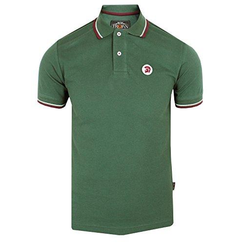 trojan-records-polo-camiseta-para-hombre-parte-superior-con-punta-de-color-verde-classic-verde-verde