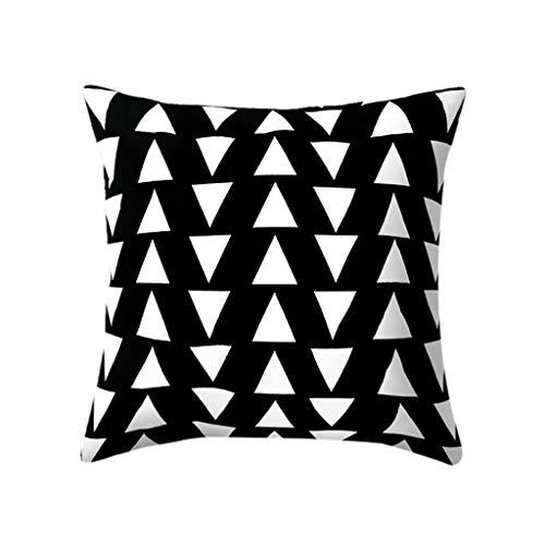 KonJin Kissenbezüge 45X45cm aus Mikrofaser Kissenhüllen Einfache Black & White geometrische Throw Cover Kissen Kissen Square Case Decor schillernd